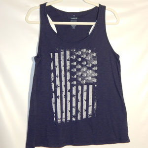 Torrid Tank Top Navy Blue with white American Flag